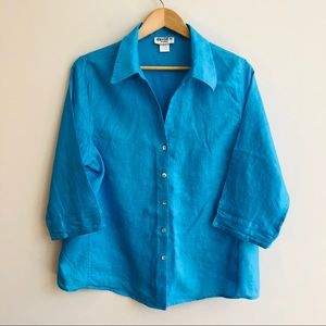 Vintage Linen Blouse in Turquoise Blue